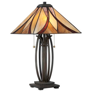 Table Lamp Featuring Tiffany Glass Valiant Bronze
