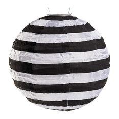"Soji 14"" Black and White Stripe Lantern"