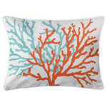 Island Girl Home, Inc. - Coral Duo Lumbar Pillow - Size: 14x20. Material: 100% Polyester, pre-shrunk. Details: Double-sided print with piping and invisible zipper. Insert: Polyfill. Care: Spot clean or machine wash with mild detergent on delicate cycle, air dry. Do not tumble dry. Do not dry clean. Made in the USA. �Island Girl Home, Inc.