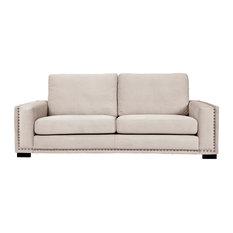 Saratoga 4-Seater Sofa, White, Bronze Tacks