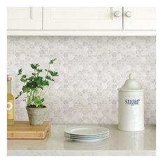 Wallpops Hexagon Marble Farmhouse Peel and Stick Backsplash Tile, Set of 4