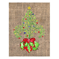Christmas Tree Fleur De Lis Flag Canvas