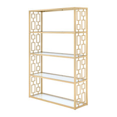 Blanrio Etagere Bookcase, Clear Glass and Gold
