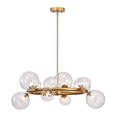 "Arroyo 28"" Gold Finish Clear Glass Globe Chandelier (bulbs included)"