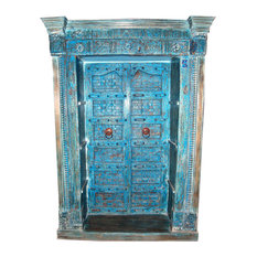 Mogulinterior - Consigned Antique Doors Bookcase India Hand Carved Blue Painted Reclaimed - Bookcases