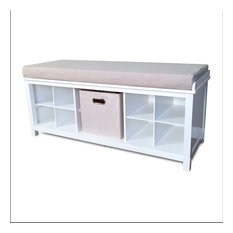 John Louis Home Solid Wood Entry Bench with 1 Bin and 2 Shoe Dividers, White