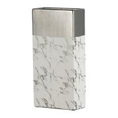 "Modern Chic Silver White Ceramic Vase 6x3x12"""