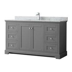 Avery 60-inch Single Bathroom Vanity Dark Gray Carrera Marble Top Square Sink