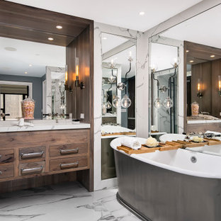 Inspiration for a large timeless master white tile and porcelain tile double-sink, porcelain tile, white floor, coffered ceiling and wainscoting bathroom remodel in Chicago with medium tone wood cabinets, beaded inset cabinets, a bidet, gray walls, an undermount sink, quartz countertops, a hinged shower door, white countertops and a floating vanity