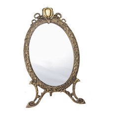Oval Mirror in Antique Brass Finish