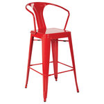 OSP Home Furnishings - Patterson Cafe Stool, Red, Set of 2 - Durable steel frame Powder coated finish frame Ready to assemble Intended for residential use only