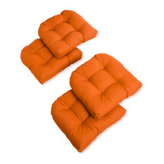 """19"""" U-Shaped Spun Polyester Outdoor Tufted Dining Chair Cushions, Set of 4, Tang"""