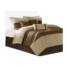 Microsuede-Pieced Comforter 7-Piece Set, Natural, California King