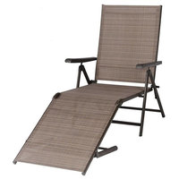 Lounge Chair, Folding Recliner Patio Pool Beach, Adjustable With Armrest 2-Pack
