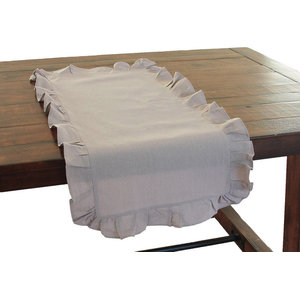 Ruffle Trim Solid Taupe Table Runner Traditional Table Runners By Xia Home Fashions