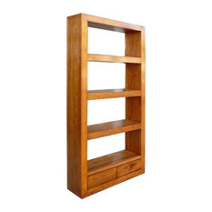 Natural Wood Orient Fusion Display Book-Shelf Cabinet