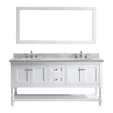 "Julianna 72"" Double Bathroom Vanity Set, White, Marble Top, Square Basin"
