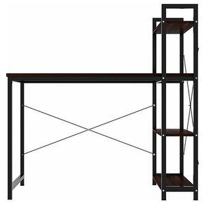 Modern Desk, Composite Wood, 4-Tier Open Shelves for Additional Storage, Walnut