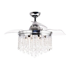 """46"""" Abella Modern Crystal Retractable Ceiling Fan with Lights and Wall Control"""