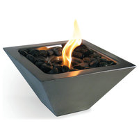Luxe Modern Minimalist Silver Tabletop Fire Pit Centerpiece Indoor Outdoor Bowl