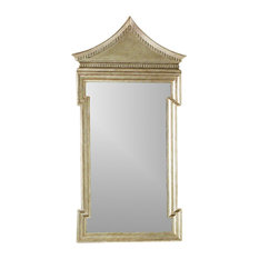 "Luxe Chinoiserie Silver Pagoda Arch Top Wall Mirror, 50"" Antique Style Vanity"
