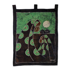 Novica Mothers Care In Green Cotton Batik Wall Hanging