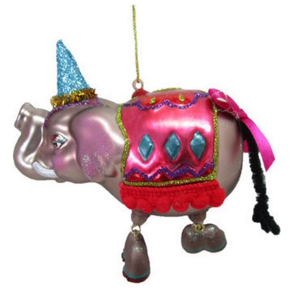 Circus Elephant with Party Hat Christmas Holiday Ornament Glass