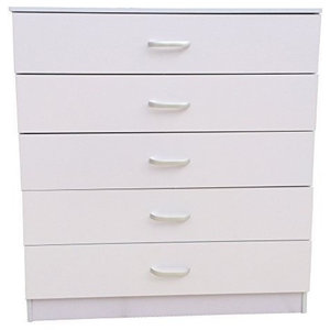 Chest of Drawers, MDF, Metal Runners and Handles, 5 Storage Compartments, White
