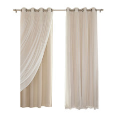 """Gathered Tulle Sheer and Blackout 4-Piece Curtain Set, Beige, 84"""""""