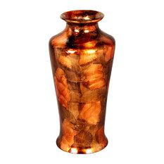 "Leah 24"" Foiled & Lacquered Ceramic Floor Vase, Copper, Brown and Orange"