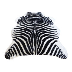 Super Plush Black-White Faux Zebra Hide Rug 4'10x6'8 Large