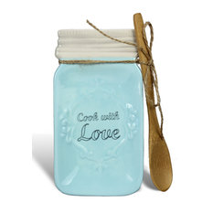 ZallZo LLC   Ceramic Mason Jar Spoon Rest With Spoon, Blue   Kitchen  Canisters And