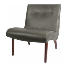 Alexis Bonded Leather Chair With Wenge Legs, Vintage Gray