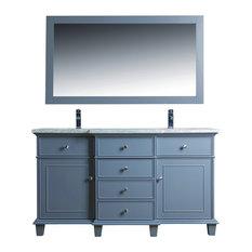 Cadence Double Sink Bathroom Vanity Gray 60-inch With Mirror