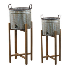 2-Piece Metal Water Bucket On Wood Stand