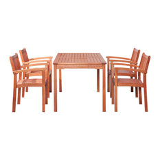 Malibu Eco-Friendly 5-Piece Wood Outdoor Dining Set With Stacking Dining Chairs