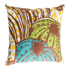 """Cactus Pillow, Brown, Yellow, Teal, and Blue, 20"""" x 20"""""""