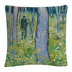 "Van Gogh 'Undergrowth With Two Figures' 16""x16"" Decorative Throw Pillow"