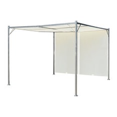 vidaXL Pergola Steel With Adjustable Roof, Cream, 3x3 m