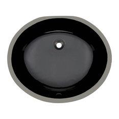 Undermount Porcelain Sink, Black, No Additional Accessories