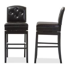 Ginaro Faux Leather Swivel Bar Stools Dark Brown Set Of 2