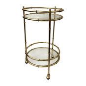 Bamboo Round Bar Cart, Gold