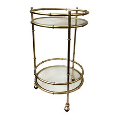 Bamboo Round Bar Cart, Gold