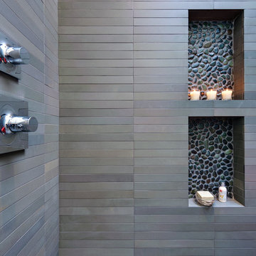 contrasting tile niches and a touch of color