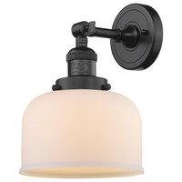 Large Bell 1-Light LED Sconce, Oil Rubbed Bronze, Glass: Matte White Cased