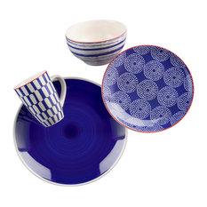 euro ceramica euro ceramica simpatico dinnerware 16 piece blue dinnerware sets - Modern Dinnerware