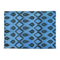 "5'x6'10"" Handmade Ikat Uzbek Design Denim Blue Pure Wool Rug"