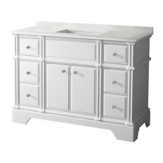 "Charm Floor Mount 48"" 3-Hole Vanity, White, Quartz White"