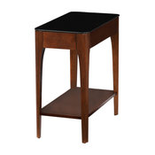 Leick Obsidian Glass Top Narrow End Table, Chestnut