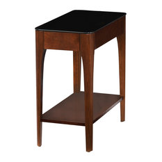 Leick Home - Leick Obsidian Glass Top Narrow End Table, Chestnut - Side Tables and End Tables
